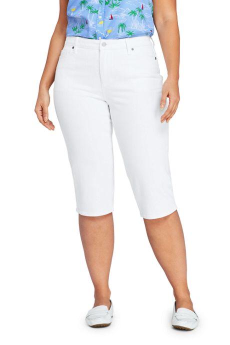 Women's Plus Size Mid Rise Straight Leg Capri Jeans-White