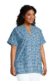 Women's Plus Size Chambray Dolman Short Sleeve Tunic Top