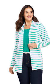 Women's Plus Size Cotton Long Sleeve Open Cardigan Stripe Sweater