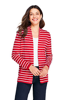 Women's Fine Gauge Cotton Long Open Cardigan, Stripe