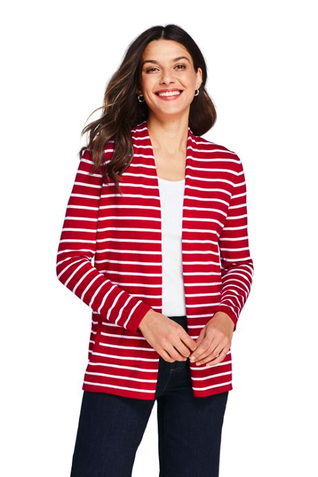 Women's Petite Cotton Long Sleeve Open Cardigan Stripe Sweater