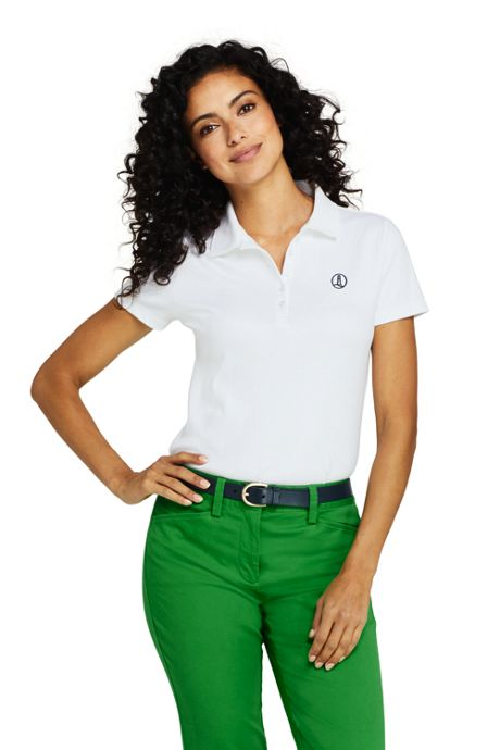 Women's Polo Shirt with Lighthouse Logo Supima Cotton Short Sleeve