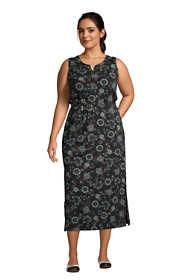 Women's Plus Size Cotton Blend Sleeveless Midi Shirt Dress