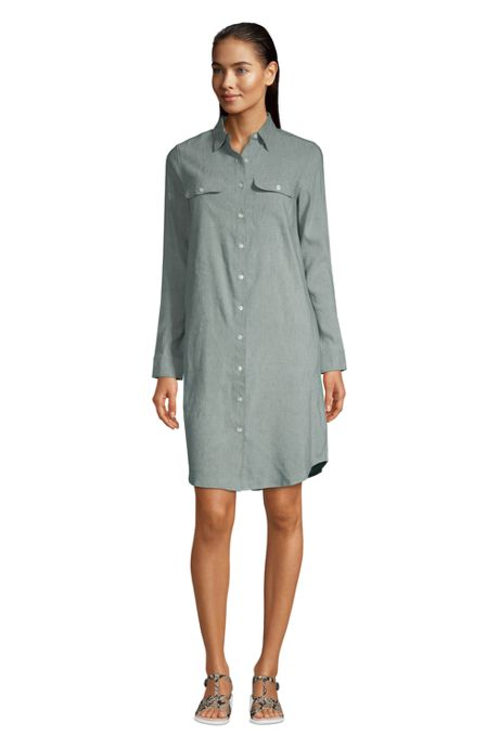Women's Long Sleeve Linen Blend Button Down Shirt Dress