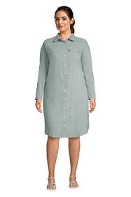Women's Plus Size Long Sleeve Linen Blend Button Down Shirt Dress