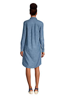 Women's Petite Long Sleeve Knee Length Button Down Shirt Dress, Back