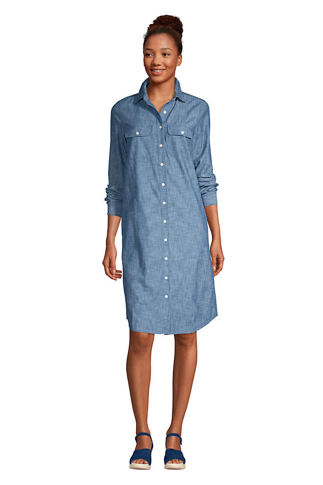 Women's Petite Long Sleeve Knee Length Button Down Shirt Dress, Front