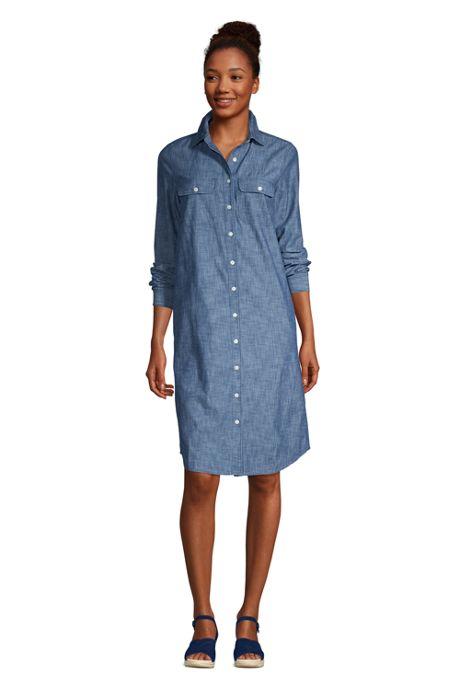 Women's Petite Long Sleeve Knee Length Button Down Shirt Dress