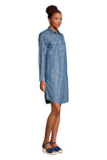 Women's Petite Long Sleeve Knee Length Button Down Shirt Dress, alternative image