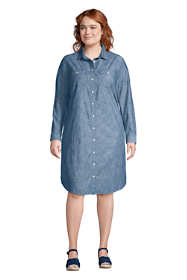 Women's Plus Size Long Sleeve Knee Length Button Down Shirt Dress