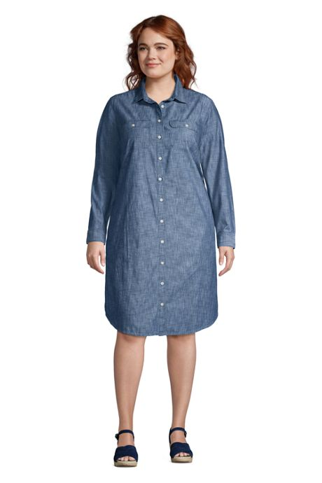 Women's Plus Size Long Sleeve Knee Length Button Down Shirt Dress