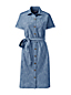 Robe Chemise en Chambray à Manches Courtes, Femme Stature Standard