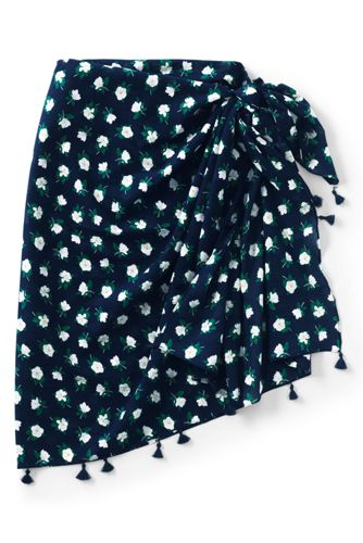 Draper James x Lands' End Women's Tasseled Sarong Cover-Up Scarf