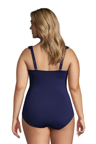 Draper James x Lands' End Women's Plus Size Ruffle V-neck One Piece Swimsuit