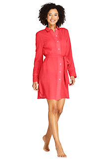 Draper James x Lands' End Robe Chemise de Plage en Coton, Femme