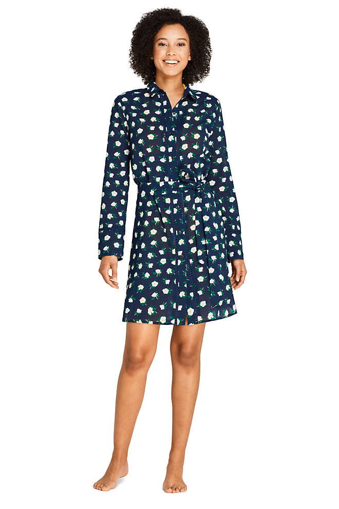 Draper James x Lands' End Women's Cotton Button Down Belted Shirt Dress Swim Cover-up Embellished, Front