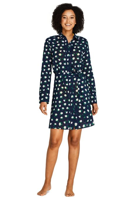 Draper James x Lands' End Women's Cotton Button Down Belted Shirt Dress Swim Cover-up Embellished