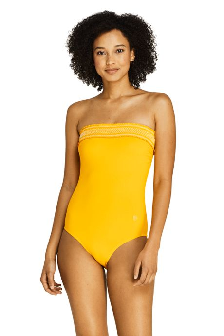 Draper James x Lands' End Women's Bandeau One Piece Swimsuit