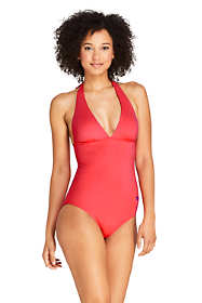 Draper James x Lands' End Women's V-neck Halter One Piece Swimsuit