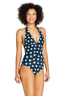 Women's Draper James x Lands' End V Neck Halter One Piece Swimsuit