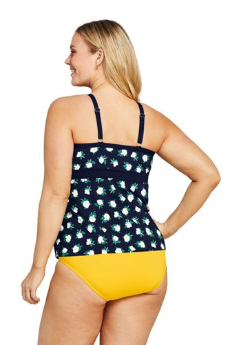 Draper James x Lands' End Women's Plus Size Keyhole High Neck Tankini Top Swimsuit
