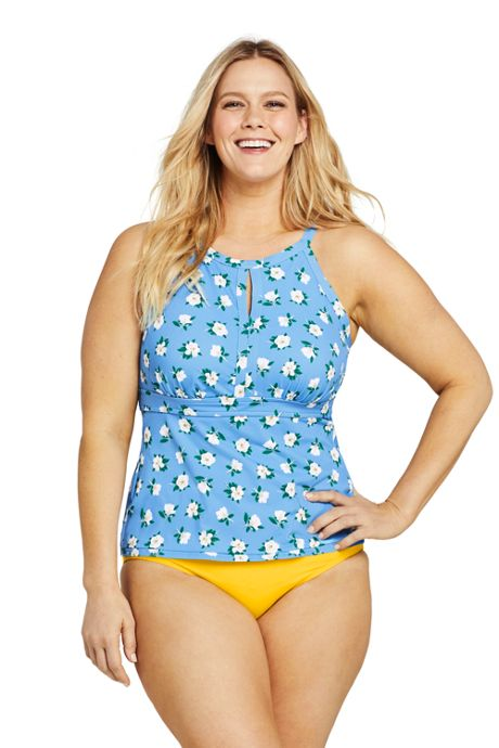 Draper James x Lands' End Women's Plus Size Keyhole High Neck Tankini Top Swimsuit