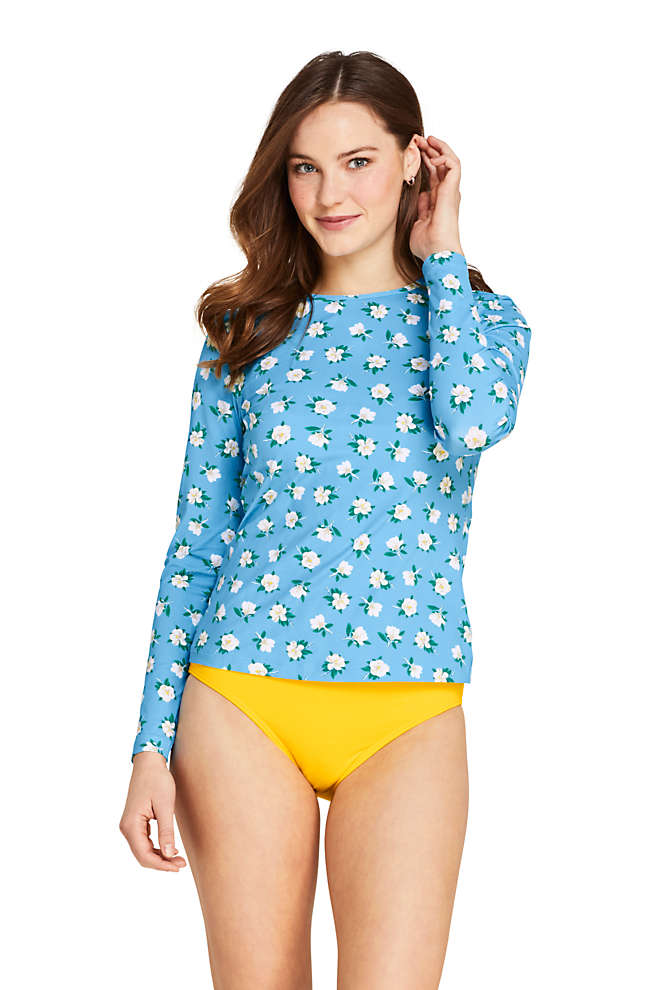 Draper James x Lands' End Women's Long Long Sleeve Rash Guard with UPF 50 Swim Tee, Front