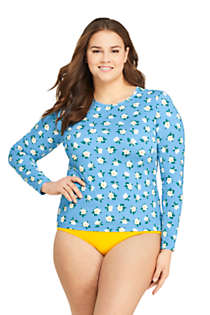 Draper James x Lands' End Women's Plus Size Long Sleeve Rash Guard with UPF 50 Swim Tee, Front