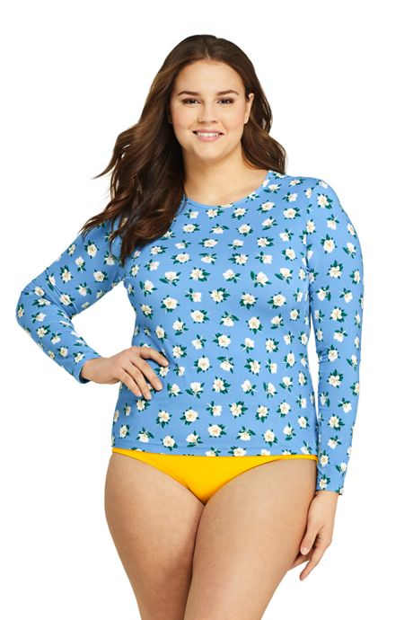 Draper James x Lands' End Women's Plus Size Long Sleeve Rash Guard with UPF 50 Swim Tee
