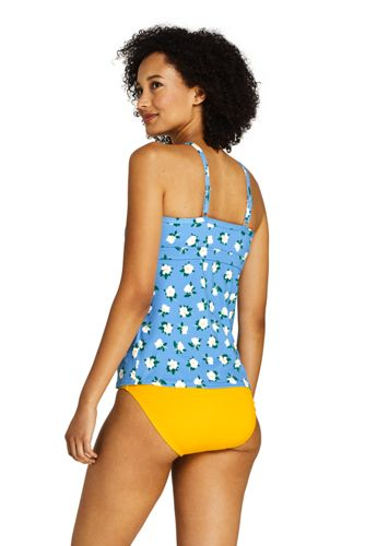 Draper James x Lands' End Women's Petite Keyhole High Neck Tankini Top Swimsuit