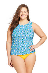 Draper James x Lands' End Women's Plus Size High Neck UPF 50 Modest Tankini Top Swimsuit