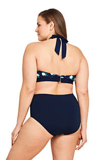 Draper James x Lands' End Women's Plus Size V-neck Halter Bikini Top Swimsuit, Back