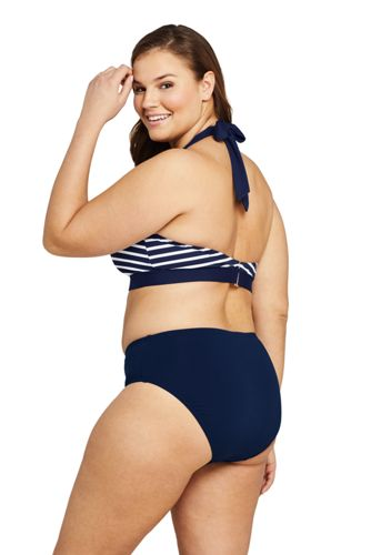Draper James x Lands' End Women's Plus Size V-neck Halter Bikini Top Swimsuit