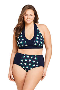 Draper James x Lands' End Women's Plus Size V-neck Halter Bikini Top Swimsuit, Front