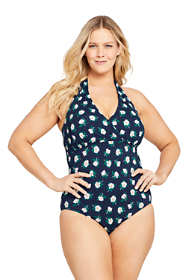 Draper James x Lands' End Women's Plus Size V-neck Halter One Piece Swimsuit