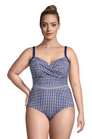 Draper James x Lands' End Women's Plus Size Tummy Control Wrap One Piece Swimsuit