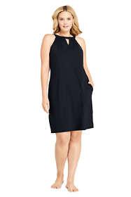 Women's Plus Size Sleeveless High Neck Keyhole with UV Protection Swim Cover-up Dress