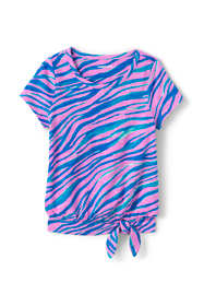Girls Slub Tie Front Pattern Top