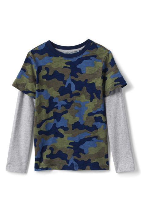 Boys Long Sleeve Double Layer Slub Tee