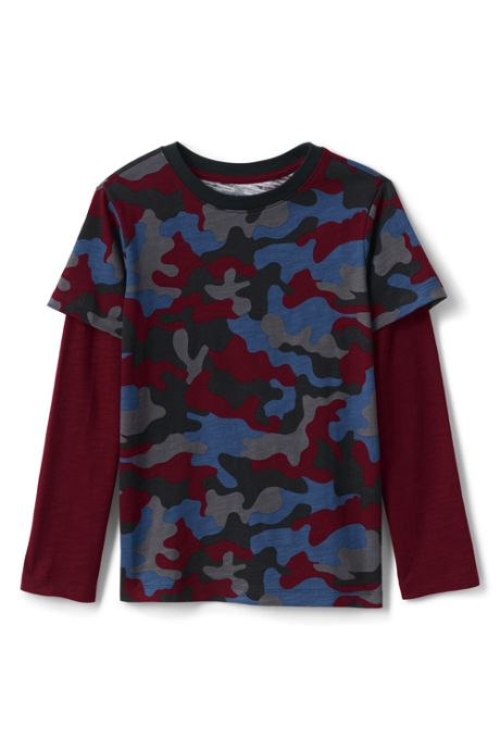 Boys Husky Long Sleeve Double Layer Slub Tee