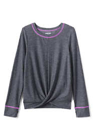 Girls Plus Size Long Sleeve Twist Front Performance Tee