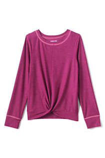 Girls Long Sleeve Twist Front Performance Tee, Front