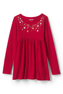 Girls Long Sleeve Yoke Tunic Top, Front
