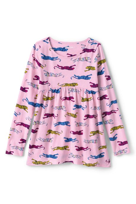 Little Girls Long Sleeve Yoke Tunic Top