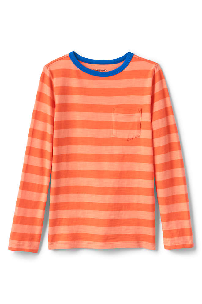 Boys Long Sleeve Pattern Slub Tee, Front
