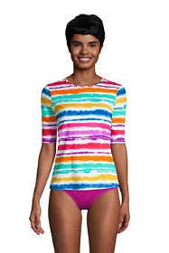 Women's Petite Crew Neck Elbow Sleeve Rash Guard UPF 50 Sun Protection Modest Swim Tee