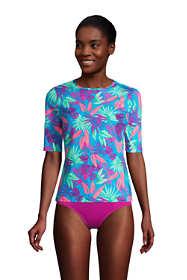 Women's Long Crew Neck Elbow Sleeve Rash Guard UPF 50 Sun Protection Modest Swim Tee