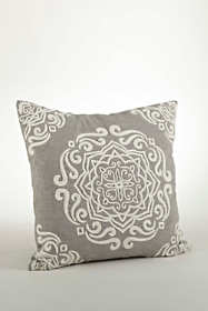Scroll Embroidered Decorative Throw Pillow