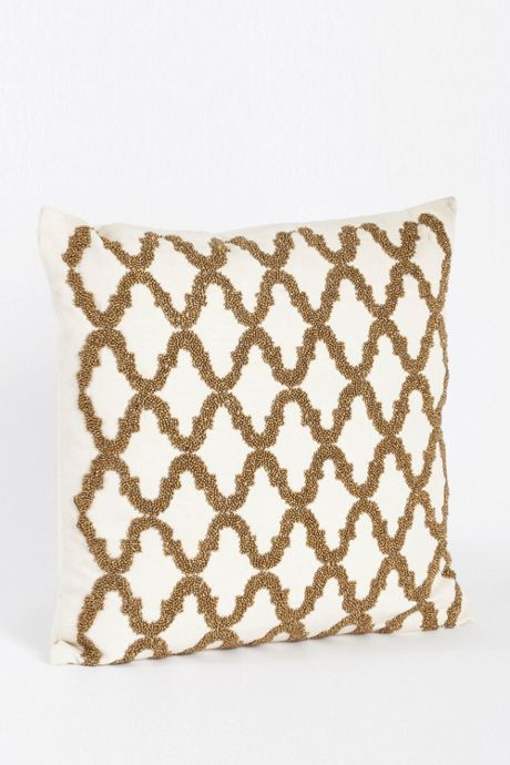 Beaded Trellis Design Decorative Throw Pillow