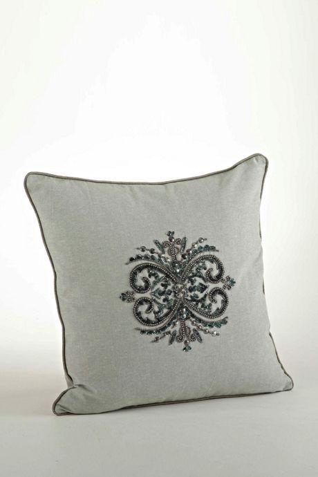Elegant Beaded Decorative Throw Pillow